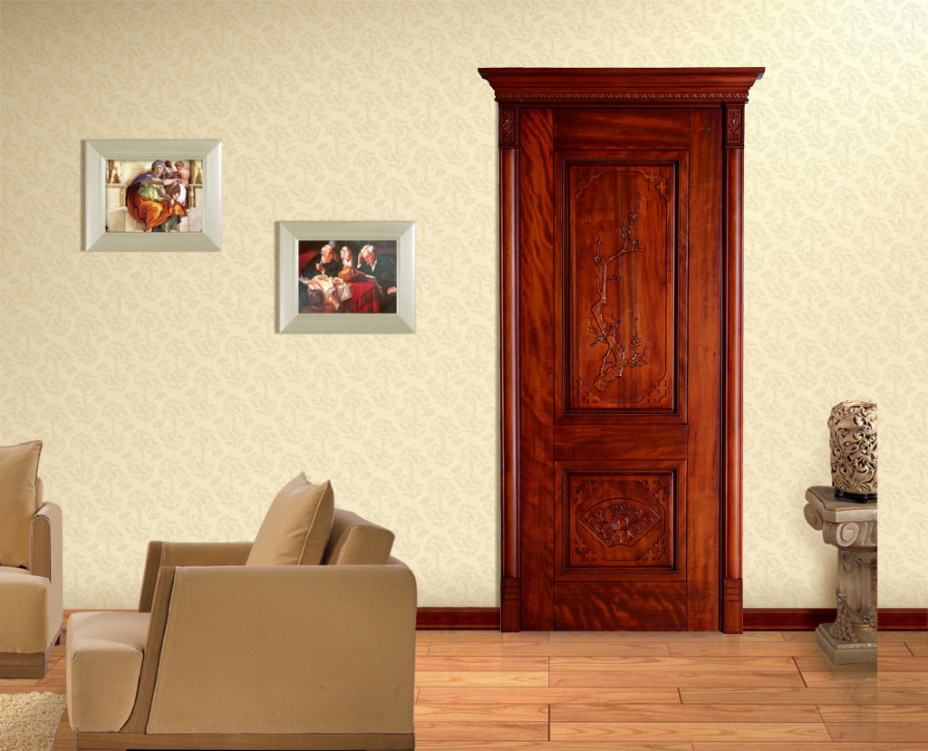 瀚森木門 HANSEN YM042 美式復古原木門 靜音原木門  45mm厚原木門 瀚森精品原木門