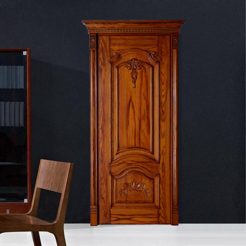 瀚森原木門YM050 高檔裝修用門 瀚森45mm厚原木門 雕花精美 木紋清晰