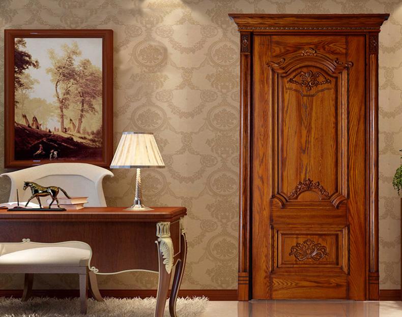 瀚森木门 HANSEN YM018 原木门十大品牌 100%纯原木 精美雕花 豪华典范瀚森木门