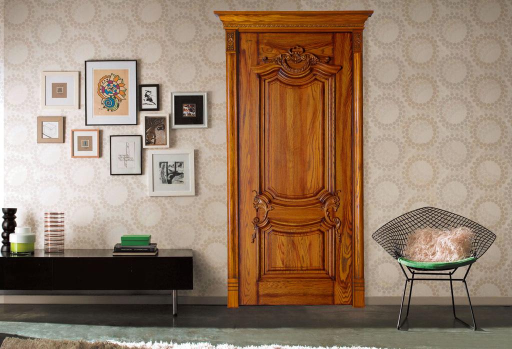 HANSEN YM010 瀚森原木門  手工精雕雕圖別墅室內木門 原木臥室雕花房門 經典室內門