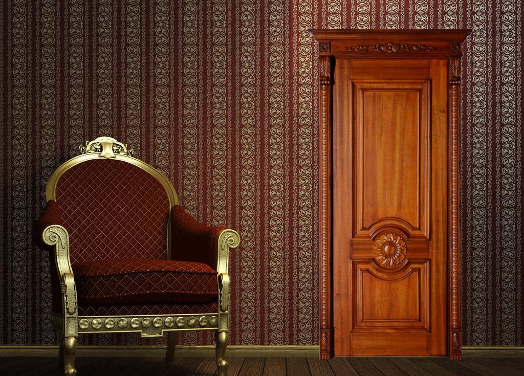 瀚森實木門SY005 紅橡開飯 瀚森定制實木門 美式室內實木門 100%純實木